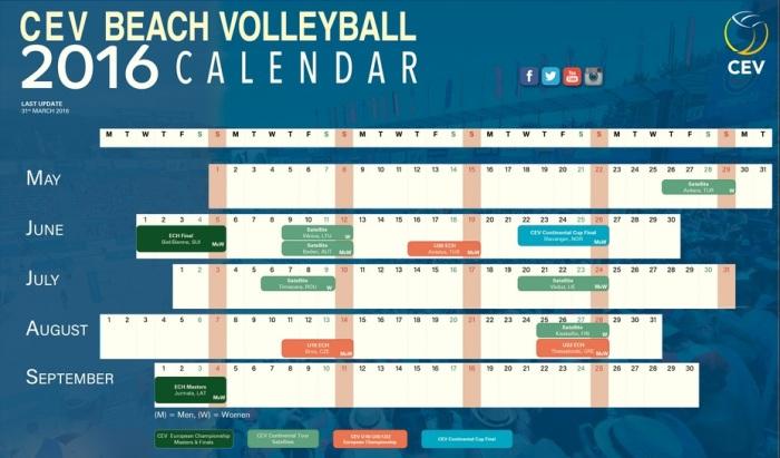 CEV Beach Calendar 2016